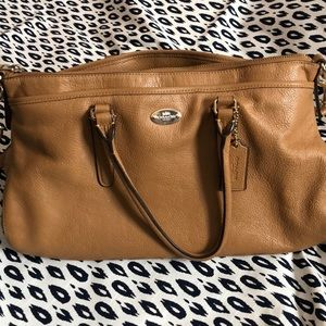 Classic solid brown leather Coach purse